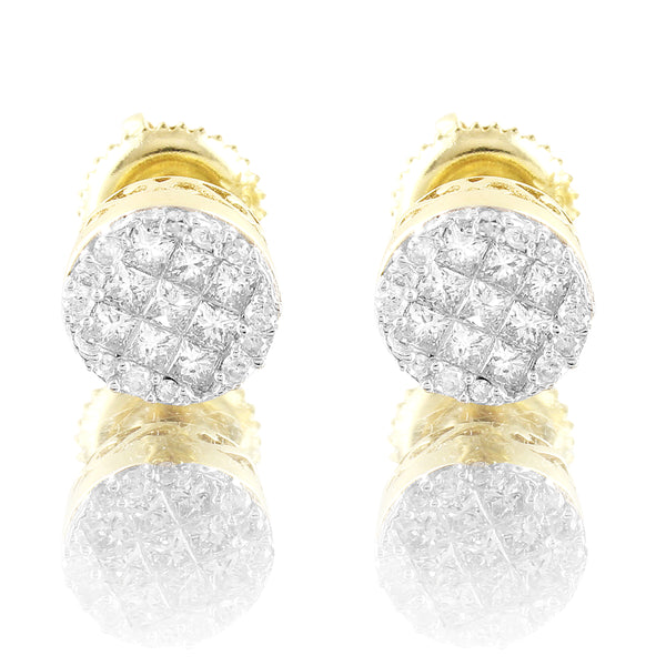 10k Gold Princess Cut Round 0.4Ct Diamonds Men Women Stud Earrings