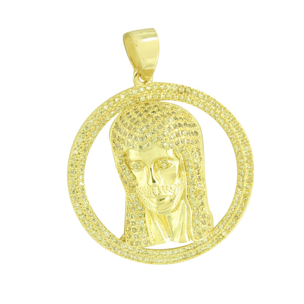 14K Gold Finish Jesus Design Round Pendant Unique Yellow Lab Created Diamonds
