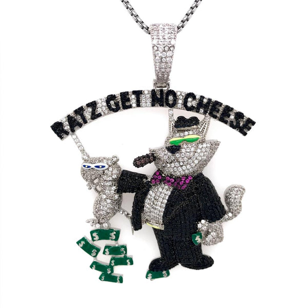 Custom Icy Ratz get No Cheese Dollar Bill White Finish Pendant