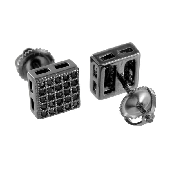 Black Finish Square Earrings