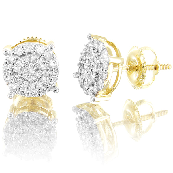 Round Prong Micro Pave 10k Gold 0.4Ct Real Diamonds Screw Back Earrings