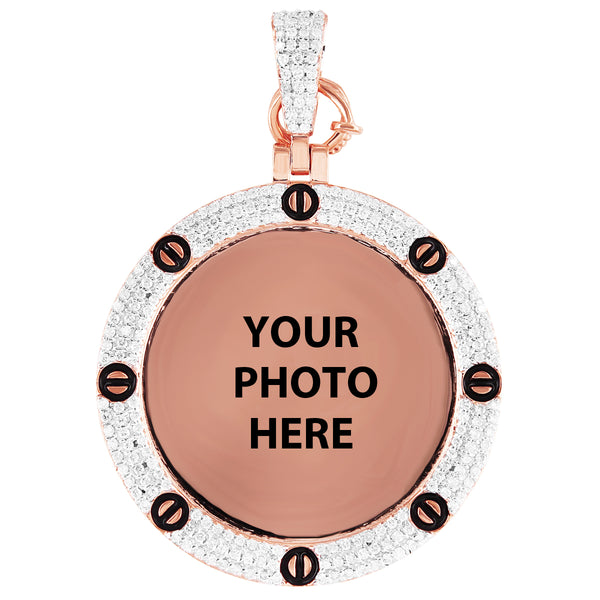 Custom 10K Rose Gold Diamond Nail Bezel Photo Picture Pendant