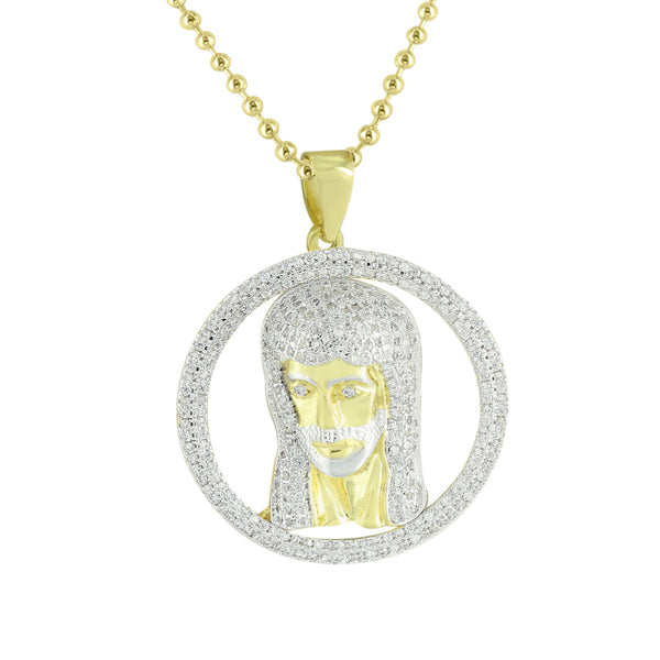New Jesus Pendant Round Design Lab Created Diamonds 14K Yellow Gold Finish Pave Set