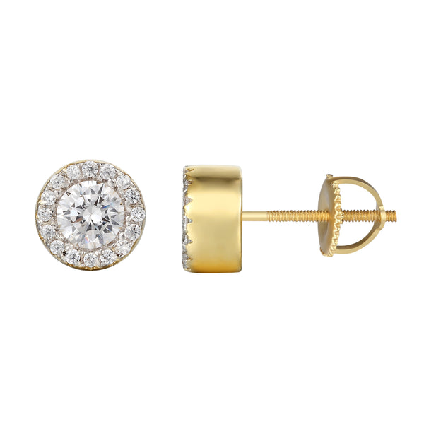 14k Gold Finish Solitaire Lab diamond Earrings