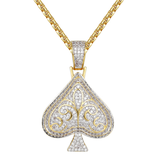 14k Gold Finish  Playing cards Spade Pendant