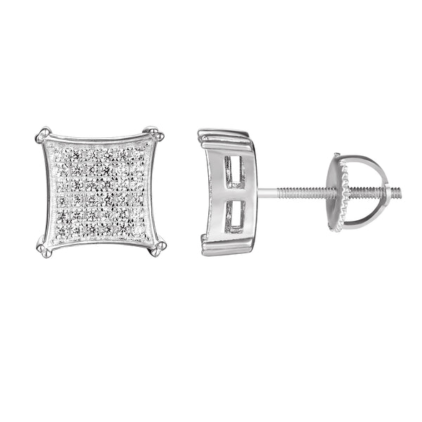 Designer Kite Style Silver Iced Out Stud Earrings