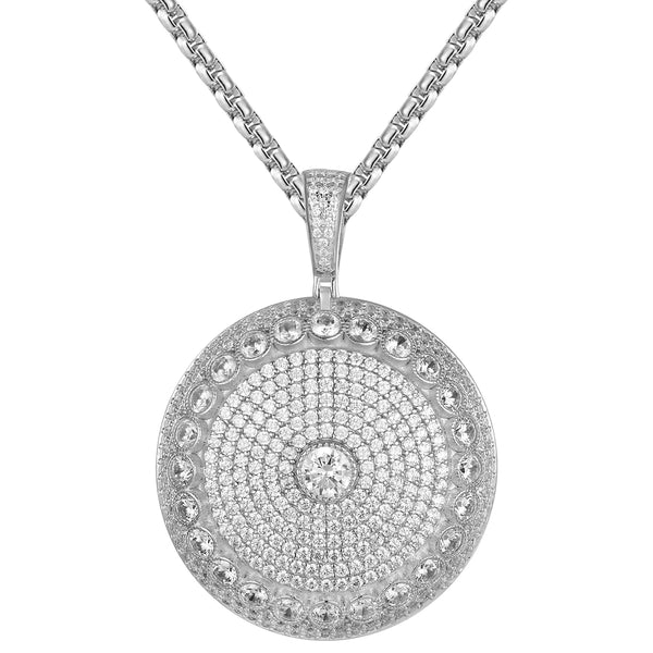Silver Solitaire Iced Out Circle Medallion Pendant Chain