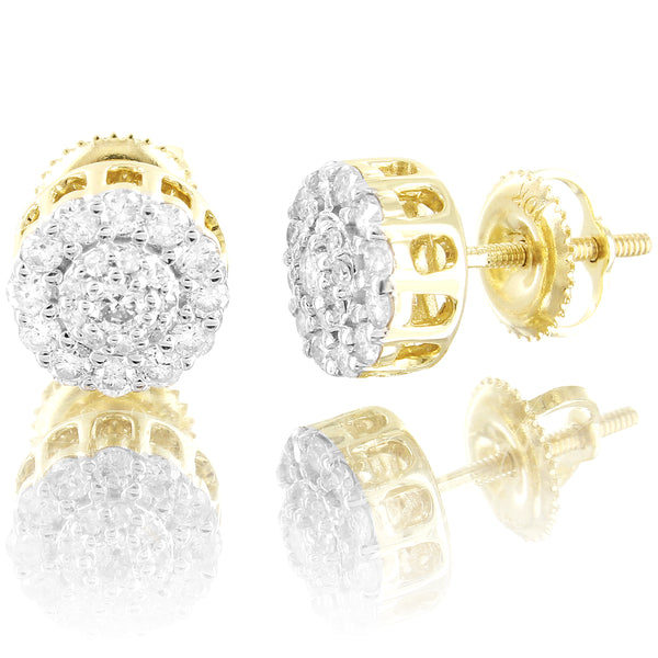 10K Gold Mini Flower Cluster Round 0.5Ct Diamonds Unisex Stud Earrings