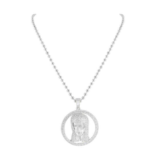 White Gold Jesus Pendant 14k Finish Lab Created Diamond Stainless Steel Necklace