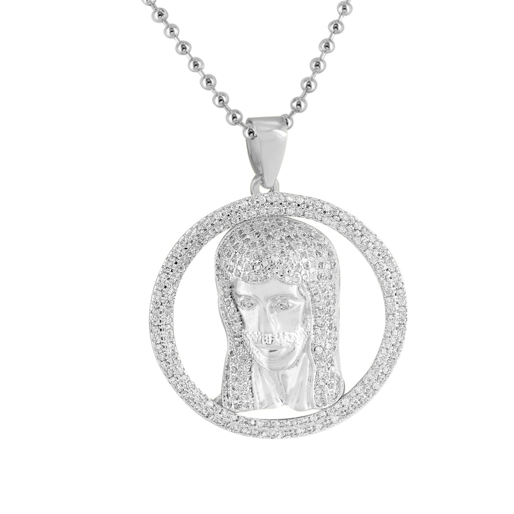 White gold jesus pendant 14k finish lab created diamond stainless white gold jesus pendant 14k finish lab created diamond stainless steel necklace aloadofball Image collections