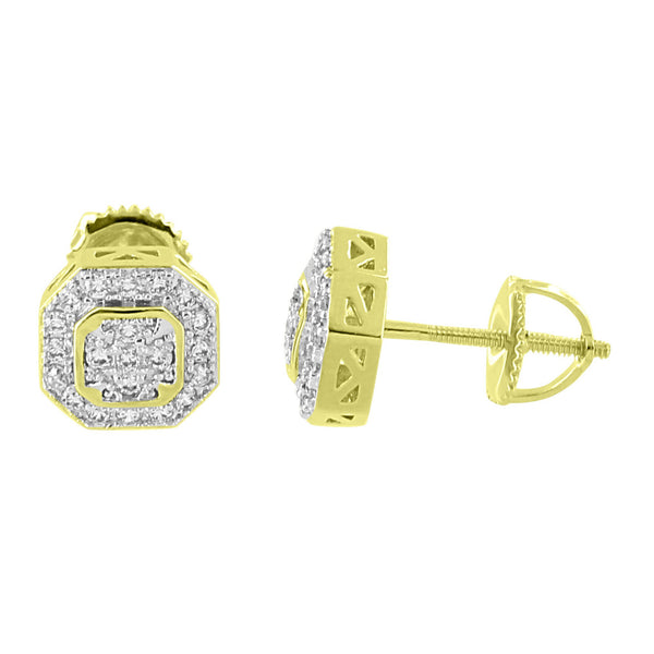 Octagon Designer Earrings  Simulated Diamonds 14K Gold Finish Screw Back 8mm Studs