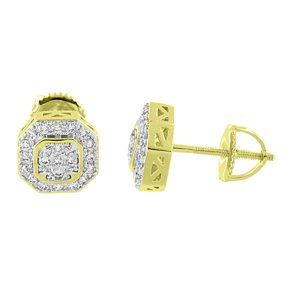 Octagon Designer Earrings Iced Out Simulated Diamonds 14K Gold Finish Screw Back 8mm Studs
