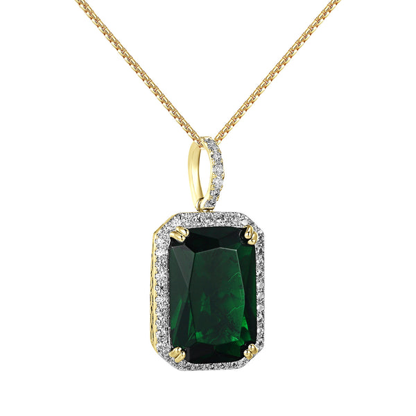 Green Solitaire Ruby CZ Pendant 1.2