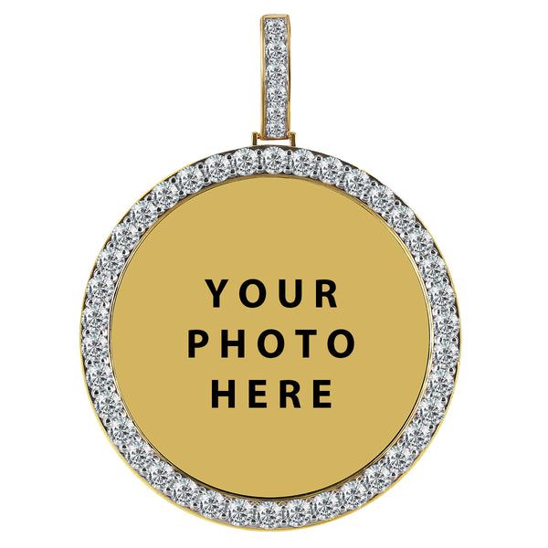 .925 Silver One Row Big Picture Memory Gold Tone Icy Pendant