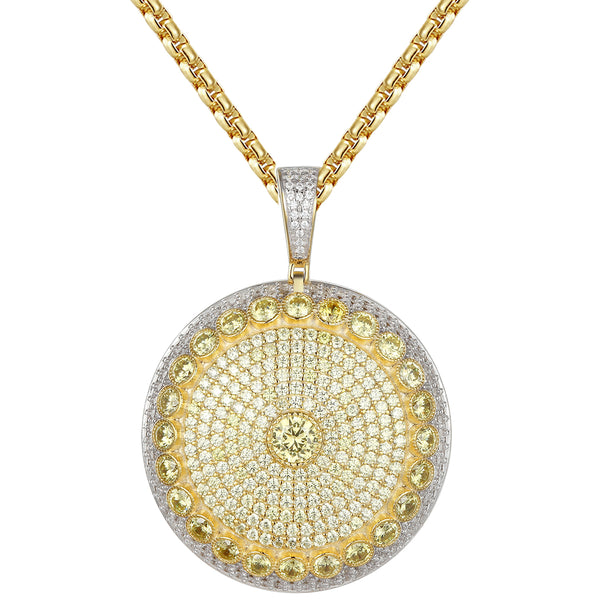 Solitaire Yellow Simulated Diamonds Medallion Pendant