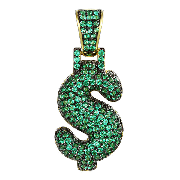 Sterling Silver Green Bubble Dollar Sign Pendant