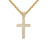 14k Gold Finish 3 Row Iced Out Mini Jesus Cross Pendant