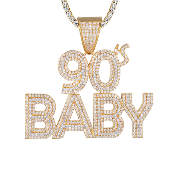 Bling 90's Baby Icy Three Row Solitaire Gold Tone Pendant