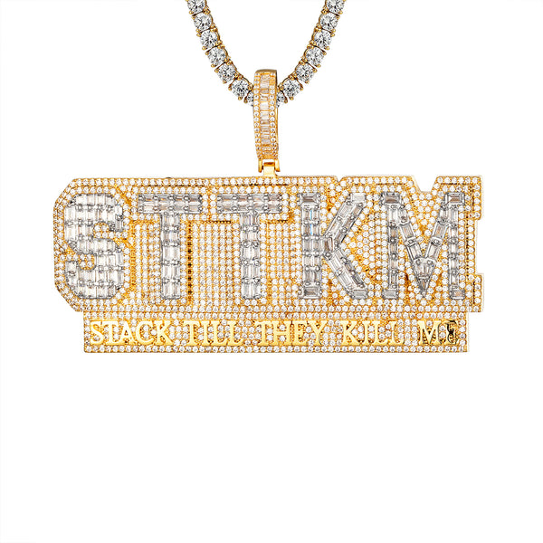 Icy Stack till they Kill Custom Gold Tone Baguette Icy Pendant Chain