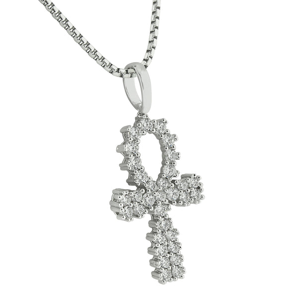 Prong Set Ankh Cross Pendant White Gold Finish Stainless Steel Necklace 24