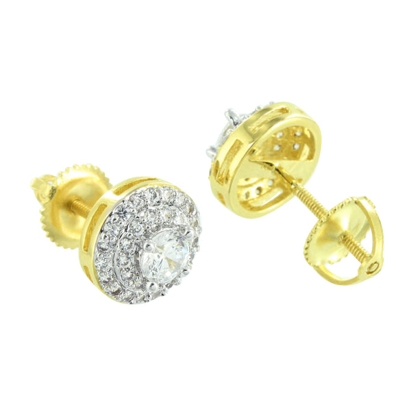 Round Solitaire Earrings Screw Back