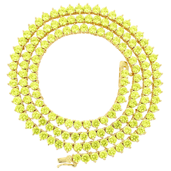 3mm solitaire 3 Prong Canary Yellow One Row Tennis Necklace