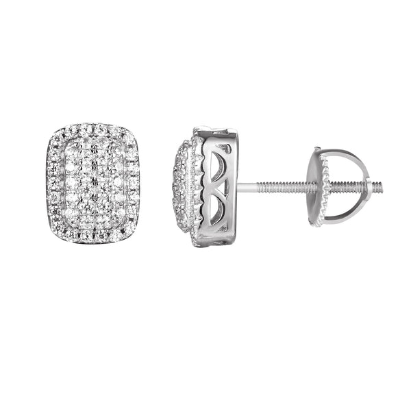 Sterling Silver Square Iced out Puff Stud Earrings