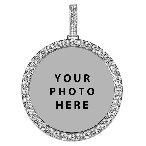 silver Picture Pendant. one row crown circle chain