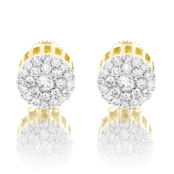 10k Gold Solitaire Cluster Micro Pave 0.75Ct Diamonds Screw Back Earrings
