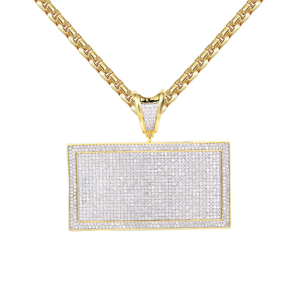 Men's Custom  Rectangle Bar 14k Gold Finish Pendant Necklace