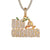 Mens Gold Tone Money Dollar Bag Chasin Bills Icy Pendant