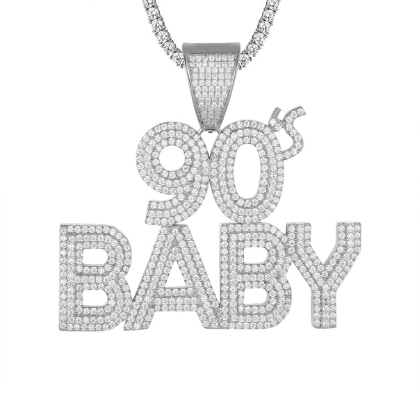 Mens 90's Baby Icy Solitaire Row Rapper Custom Chain