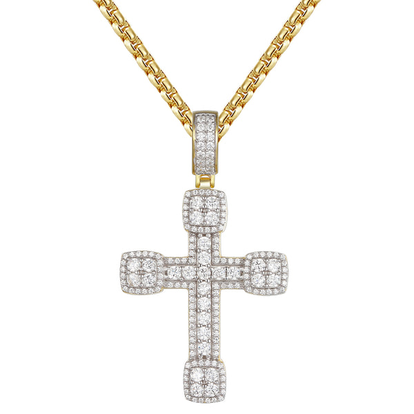 Sterling Silver Solitaire Religious Cross Pendant Necklace