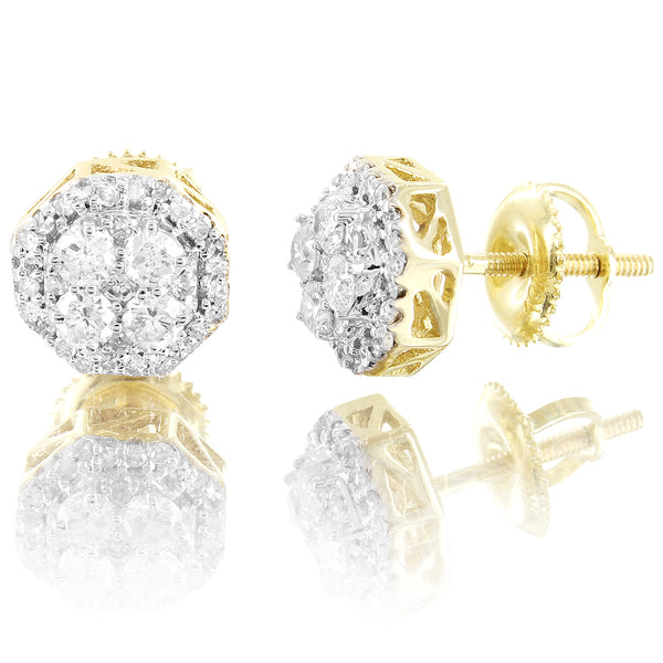 10K Gold Micro Pave 0.5Ct Diamonds Octagon Shape Unisex Earrings