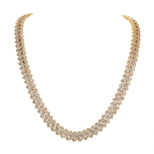 14mm Baguette Icy Square Style Gold Tone .925 Miami Cuban Chain
