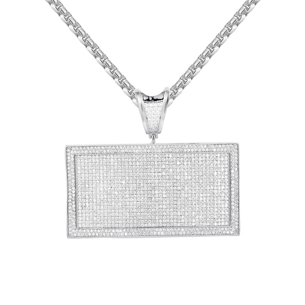 Iced Out Rectangular Bar Men's Custom Pendant Necklace