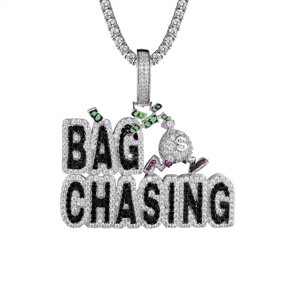 White Bag Chasing Money Dollar Bills Bling Rapper Chain