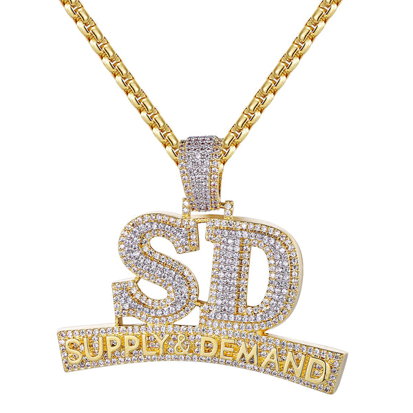 Two Tone Bling Supply And Demand Custom SD Pendant