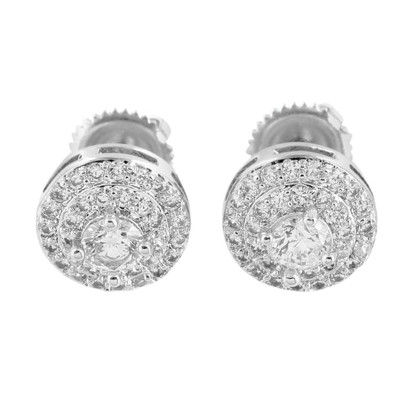 White Solitaire Round Earrings Cluster Set