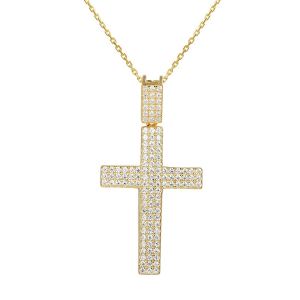 Women's Jesus Cross Bling Pendant 18