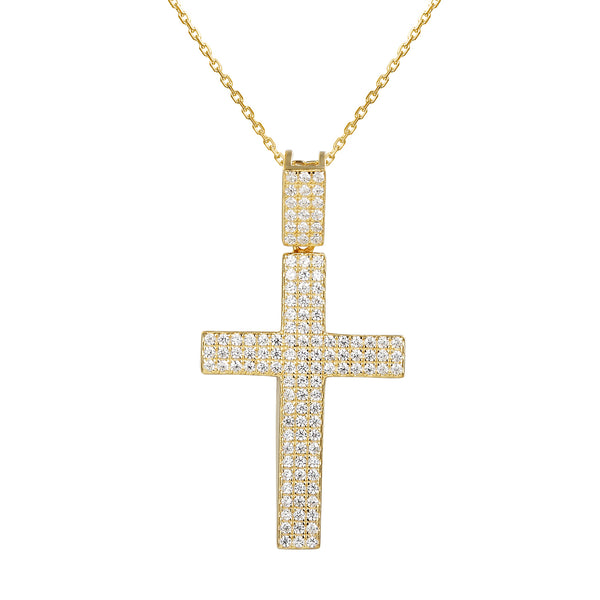 Women's Jesus Cross Iced Out Pendant 18