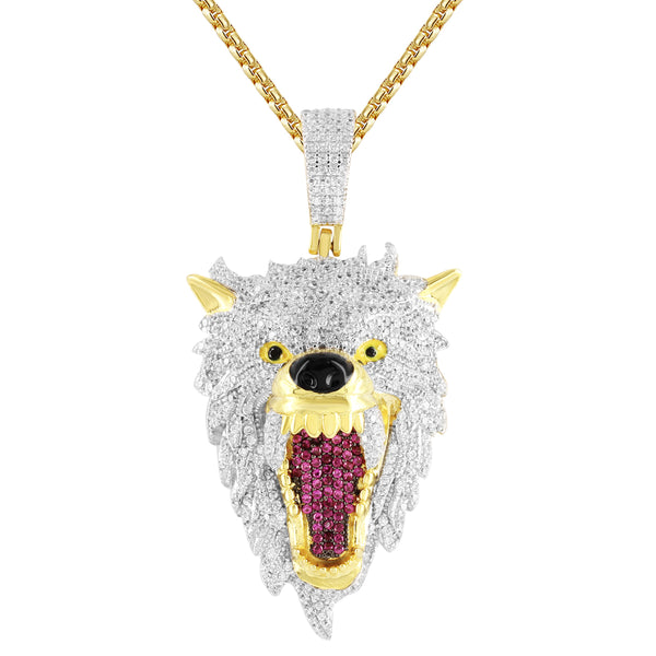Men's Roaring Wolf Fierce Animal IcedOut Silver Pendant Chain