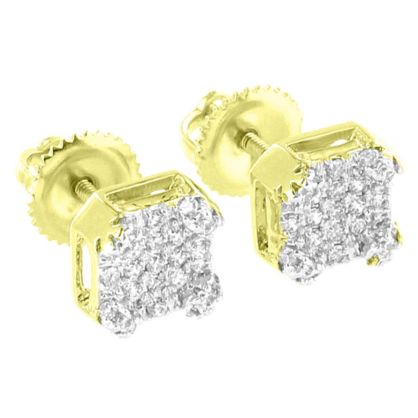 Designer Earrings 14k Gold Finish Bling Simulated Diamonds Screw Back Brand New
