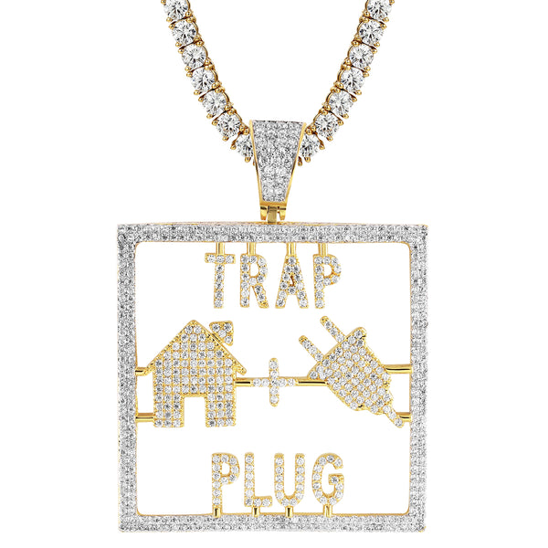 Silver Trap House Plug Iced Out Men's Custom Pendant