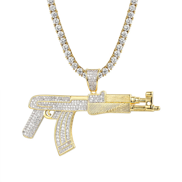 14K Gold Finish AK-47 Gun Pendant Iced Out Charm