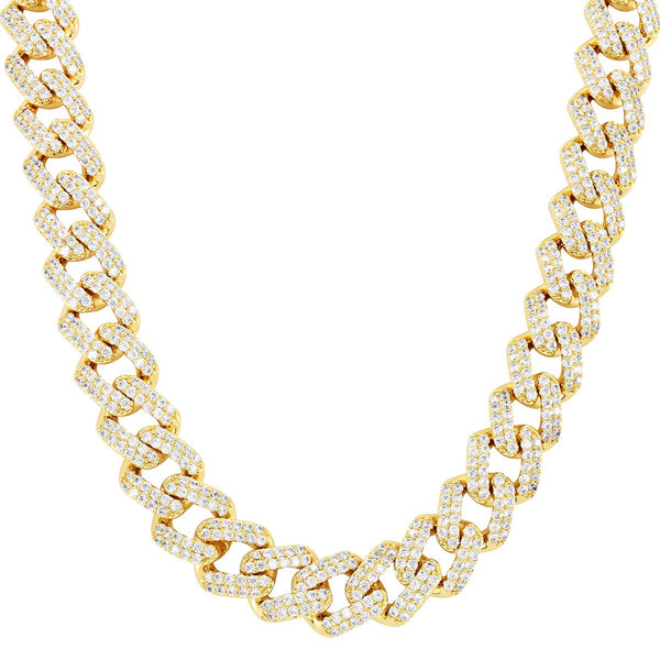 Gold Tone 11mm Square Link Icy Miami Cuban .925 Choker Chain