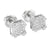 Iced Out Square Earrings Hip Hop 14K White Gold Finsih Screw Back Lab Diamonds