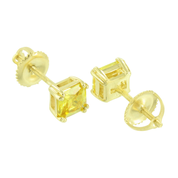 Canary Earrings Yellow Gold Finish Screw Back Studs