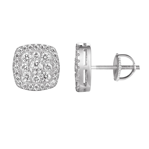 Iced Out Designer Square Silver Stud Screw Back Earring