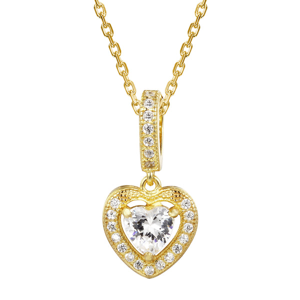 14k Gold Finish Open Center Heart Solitaire Pendant Chain